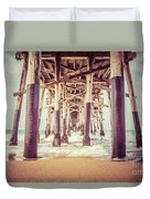 Under The Pier In Orange County California Picture Duvet Cover by Paul Velgos