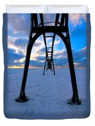 Under The Pier In St. Joseph At Sunset Duvet Cover