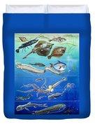 Underwater Creatures Montage Duvet Cover