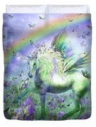 Unicorn Of The Butterflies Duvet Cover by Carol Cavalaris