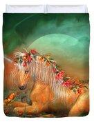 Unicorn Of The Roses Duvet Cover by Carol Cavalaris