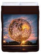 Unisphere At Sunset Duvet Cover
