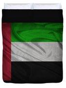United Arab Emirates Flag Waving On Canvas Duvet Cover