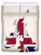 United Kingdom Map Art With Flag Design Duvet Cover