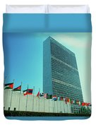 United Nations Building With Flags Duvet Cover