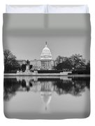 United States Capitol Building Bw Duvet Cover by Susan Candelario