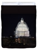 United States Capitol Dome Scaffolding At Night Duvet Cover