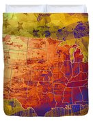 United States Flag Map Vintage 2 Duvet Cover