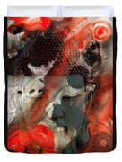 Universal Qi - Zen Black And Red Art Duvet Cover by Sharon Cummings