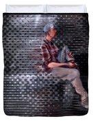 Universe Man Ties His Shoes Duvet Cover