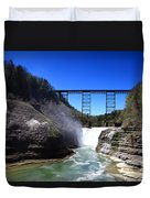 Upper Waterfalls In Letchworth State Park Duvet Cover