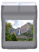 Upper Yosemite Falls From The Valley Floor In Yosemite National Park-california Duvet Cover