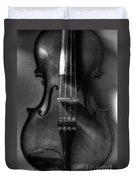 Upright Violin Bw Duvet Cover