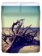 Uprooted Tree On The Beach Duvet Cover