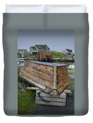 Upside Down Boat In Peggy's Cove Harbour Duvet Cover