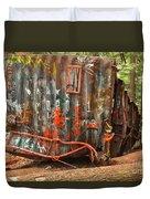 Upside Down Derailed Box Car Duvet Cover