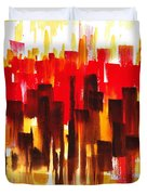 Urban Abstract Glowing City Duvet Cover
