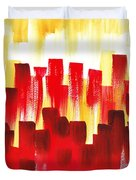 Urban Abstract Red City Lights Duvet Cover