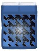 Urban Blue City Boxes Cube Leather Duvet Cover