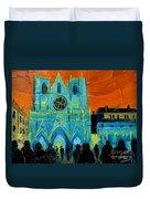 Urban Story - The Festival Of Lights In Lyon Duvet Cover