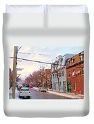 Urban Winter Landscape Colors Of Quebec Cold Day Pointe St Charles Street Scene Montreal  Duvet Cover