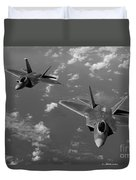 U.s. Air Force F-22 Raptors In Flight Near Guam. Duvet Cover