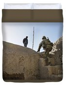 U.s. Army Soldier Climbs Stairs Duvet Cover