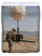 U.s. Army Soldier Fires A 122mm Duvet Cover
