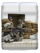 U.s. Army Soldier Looks Down The Scope Duvet Cover