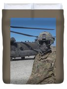 U.s. Army Soldier Stands Ready To Load Duvet Cover