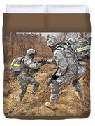 U.s. Army Soldiers Helps A Fellow Duvet Cover