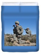 U.s. Army Soldiers Scan The Terrain Duvet Cover
