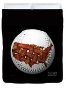 Us Bacon Weave Map Baseball Square Duvet Cover by Andee Design