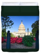 Us Capitol And Red Azaleas Duvet Cover