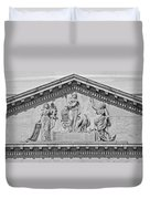 Us Capitol Building Facade- Black And White Duvet Cover