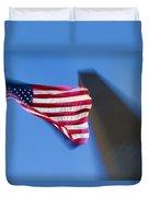 Us Flag At Washington Monument At Dusk Duvet Cover