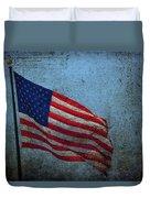 Us Flag -blue Antiqued Duvet Cover