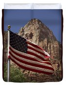 U.s. Flag In Zion National Park Duvet Cover