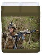 U.s. Marine Corps Machine Gunner Duvet Cover