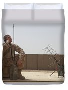 U.s. Marine Looks Up To The Sky While Duvet Cover