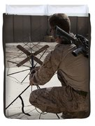 U.s. Marine Repositions A Satellite Duvet Cover by Stocktrek Images
