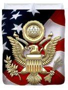 U. S. A. Great Seal In Gold Over American Flag  Duvet Cover