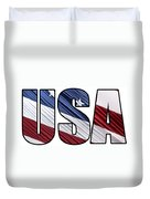 Usa In Red White And Blue American Patriotic Flag Duvet Cover