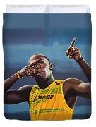 Usain Bolt Painting Duvet Cover