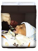 Using A Spoon To Feed A 4 Day Old Indian Baby Boy With Milk Duvet Cover
