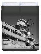 Uss Iowa Battleship Portside Bridge 01 Bw Duvet Cover