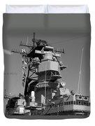 Uss Iowa Battleship Starboardside Bridge 02 Bw Duvet Cover