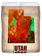 Utah Watercolor Map Duvet Cover by Naxart Studio