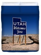 Utah Welcomes You State Sign Duvet Cover