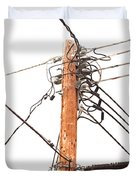 Utility Pole Hung With Electricity Power Cables Duvet Cover